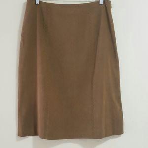 Talbots Embroidered Suedecloth Skirt, Brown, Sz 10